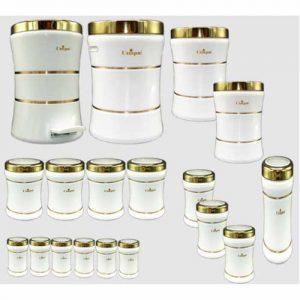 سرویس 18 پارچه کمرباریک سفید درب طلایی یونیک UN-4615