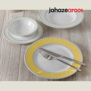سرویس ۲۸ پارچه چینی زرین سری ایتالیا اف مدل سویل زرد درجه عالی